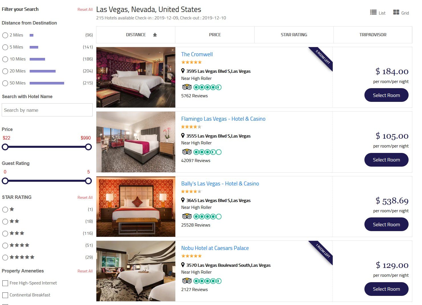 list layout hotels search results at matini hotels