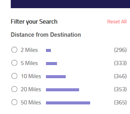 use distance from destination filters to filter your hotel search results on matini hotels
