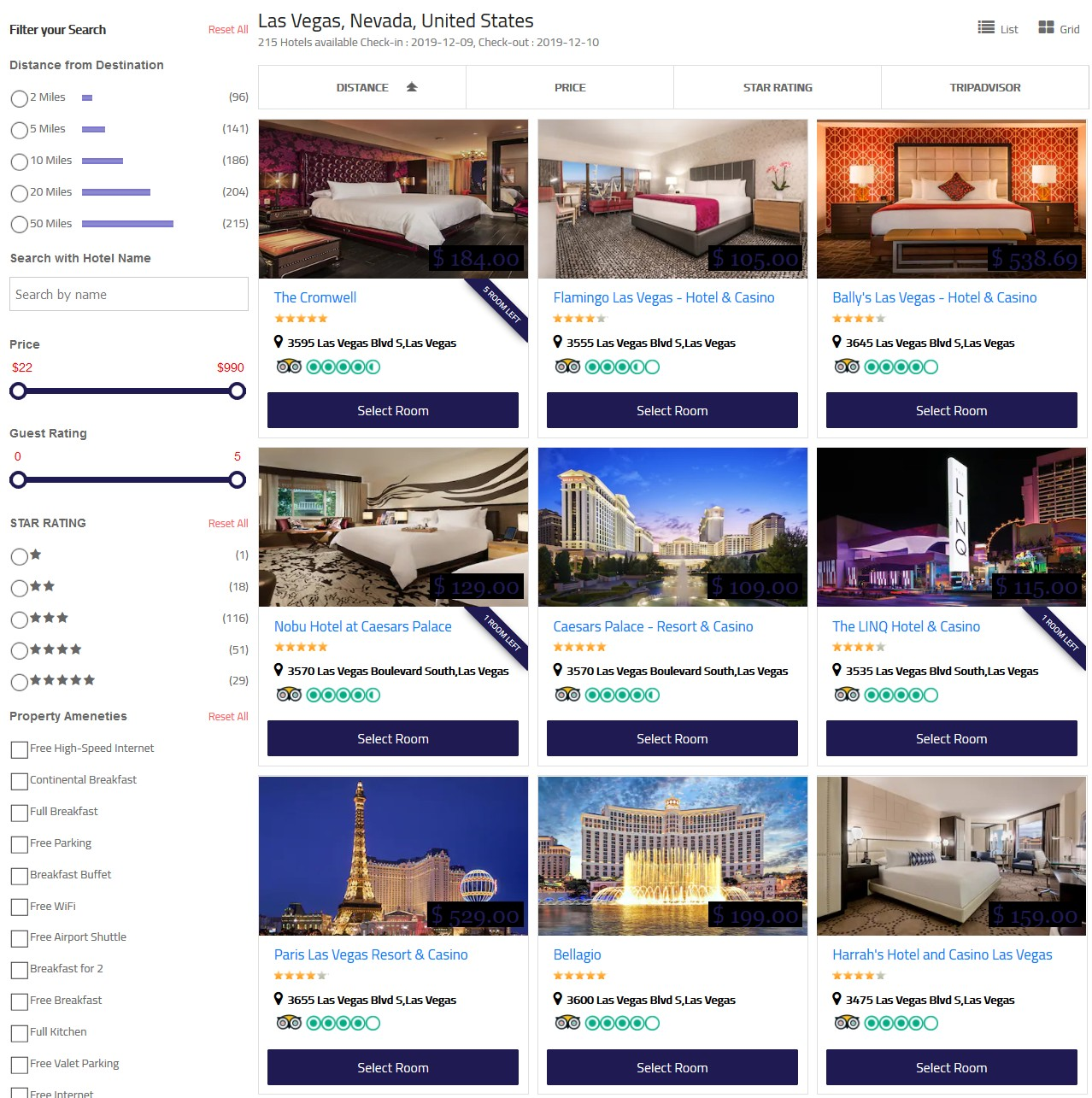 grid layout of hotel search results on matini hotels